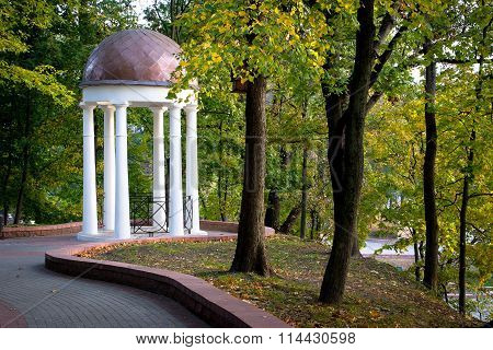 White Gazebo In The City Park