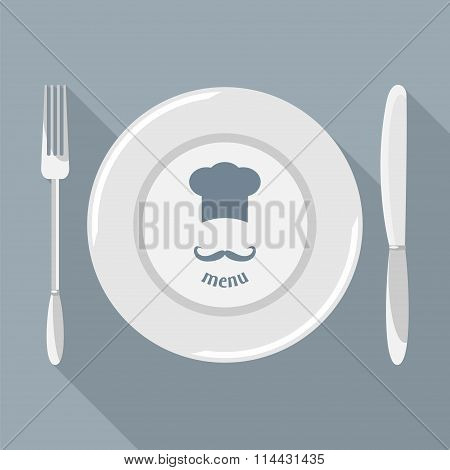 Plate, Knife And Fork Vector.
