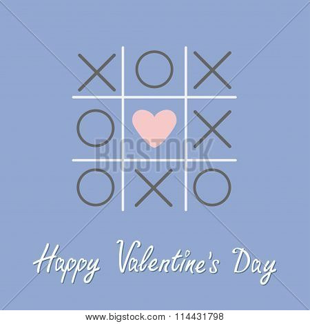 Tic Tac Toe Game With Cross And Heart Sign Mark Happy Valentines Day Card. Flat Design. Rose Quartz
