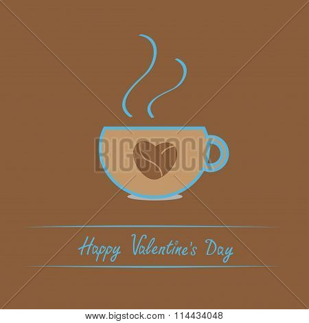 Teacup With Coffee Seeds Heart. Happy Valentines Day Card.