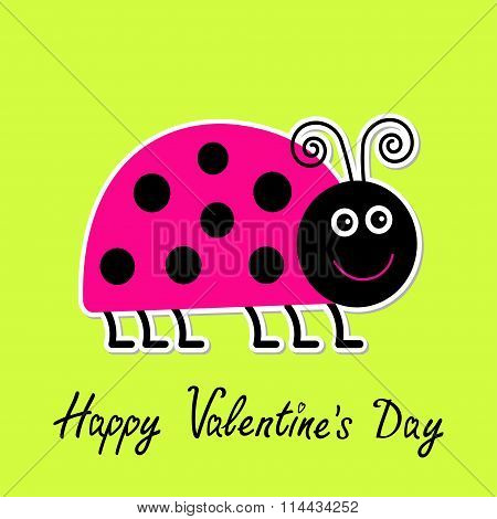 Cute Cartoon Pink Lady Bug. Isolated. Happy Valentines Day Card.