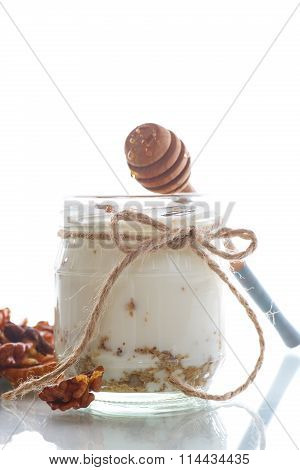 Natural fresh yogurt with  nuts and honey