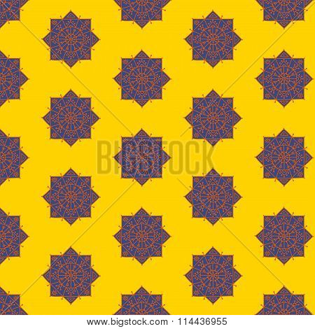 Bright seamless pattern with ethnic rosettes on a yellow background