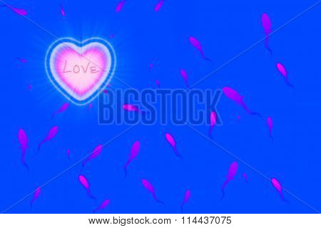 Pink Heart With Sperm On Blue Background