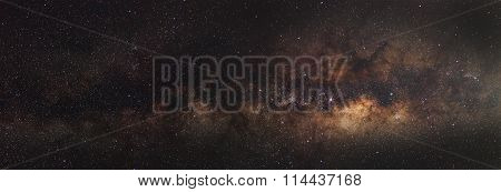 Milky Way,Long exposure photograph with grain