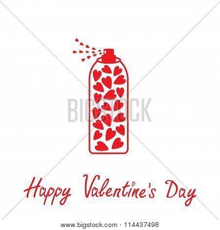 Deodorant, Spray With Hearts Inside. Happy Valentines Day Card.
