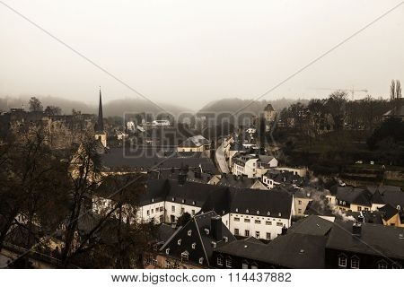 Winter fog views of the city of Luxembourg.