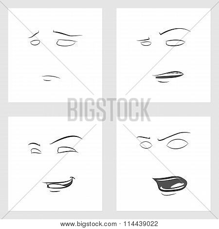 Funny Faces. Showing Emotions