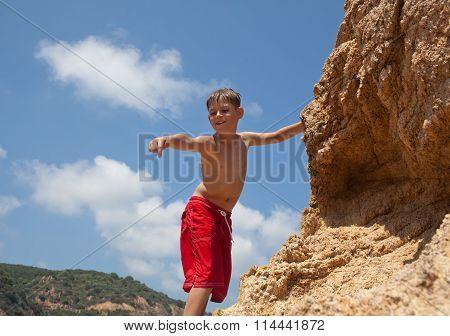 Little Boy Climbing Up