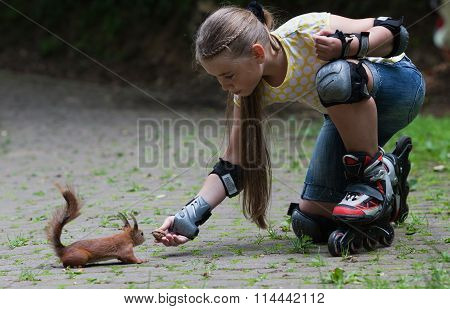 Rollergirl And Squirrel