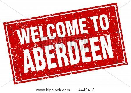 Aberdeen Red Square Grunge Welcome To Stamp