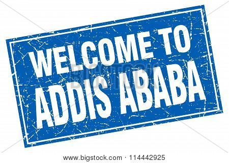 Addis Ababa Blue Square Grunge Welcome To Stamp
