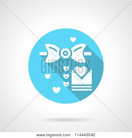 Round blue wedding MC flat vector icon