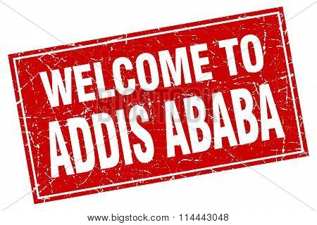 Addis Ababa Red Square Grunge Welcome To Stamp