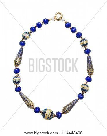 blue necklace isolated on white background