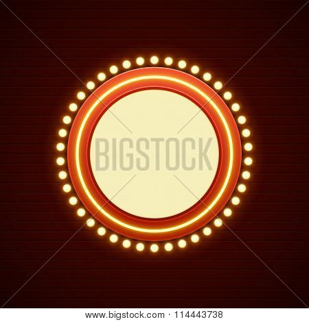 Retro Showtime Sign Design. Cinema Signage Light Bulbs Frame and Neon Lamps on brick wall background