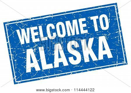 Alaska Blue Square Grunge Welcome To Stamp