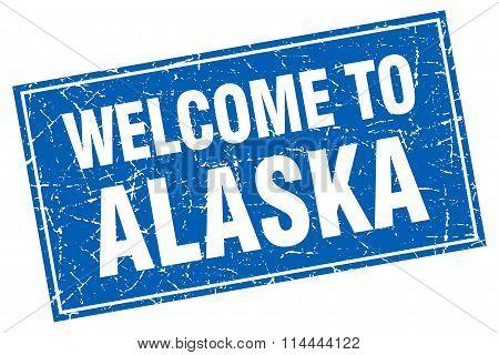 Alaska Blue Square Grunge Welcome To Stamp