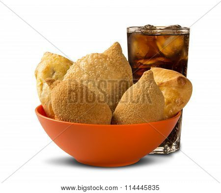 Mixed Brazilian Deep Fried Chicken Snack,, Esfihas And Pastry With Juice And Soda.