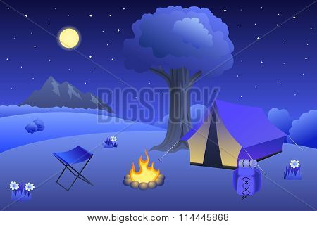 Camping meadow summer landscape night tent campfire tree illustration vector