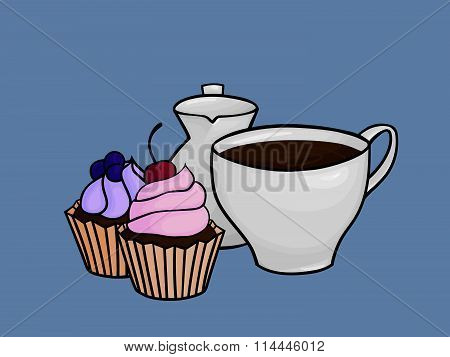 black coffee with cupcakes