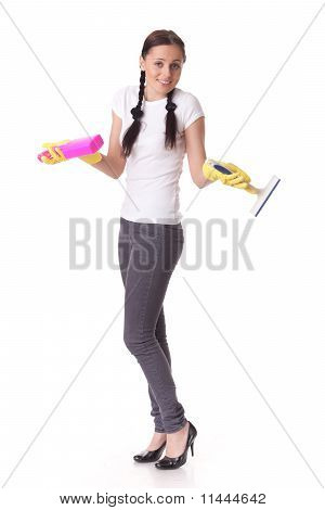 Young Woman With Spray Bottle And Brush