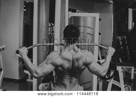 Grueling training professional bodybuilder in the gym
