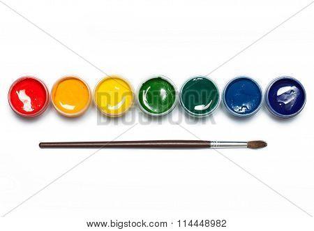 Rainbow gouache with paintbrush