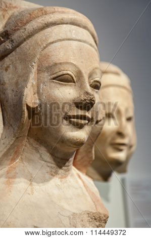 Marble Heads In The Egyptian Museum Of Berlin