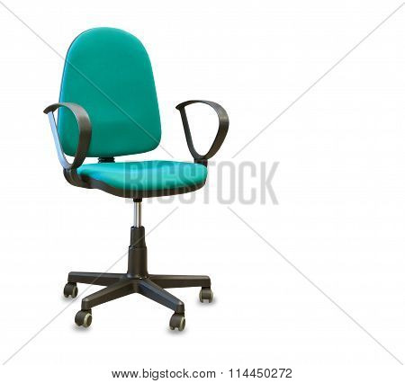 Modern Office Chair From Green Cloth Isolated Over White
