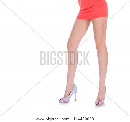 Beauty Long Woman Legs In High Heeled Shoes