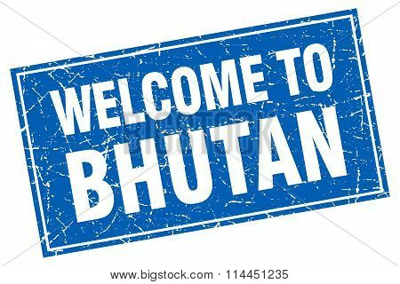 Bhutan Blue Square Grunge Welcome To Stamp