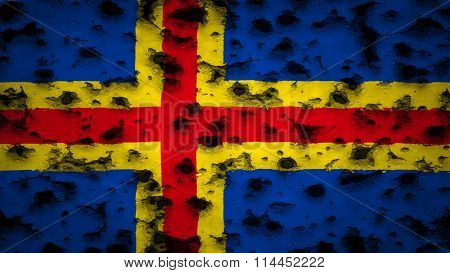 Flag of Aland painted on wall with bullet holes