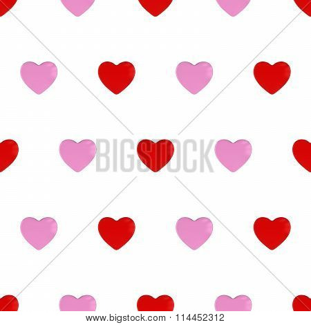 Pink And Red Hearts Seamless Tileable Pattern