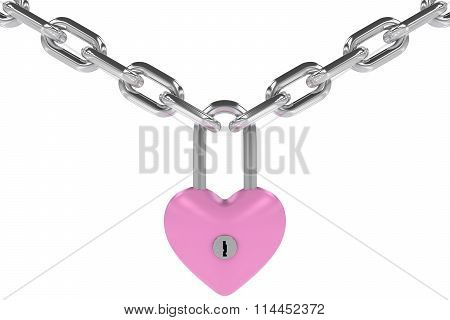 Pink Heart Shaped Padlock Hanging From Steel Chains