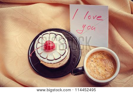Note I Love You With Cup Of Coffee And Cake