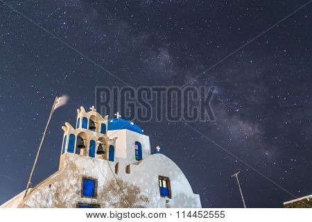 The Milky Way From Santorini Island In Greece. Image Taken With Slow Shutter Speed