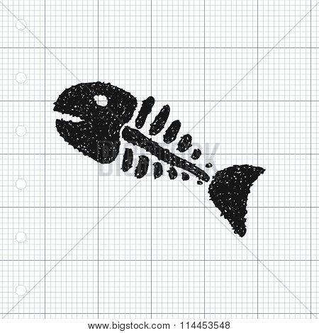 Simple Doodle Of A Fish Skeleton