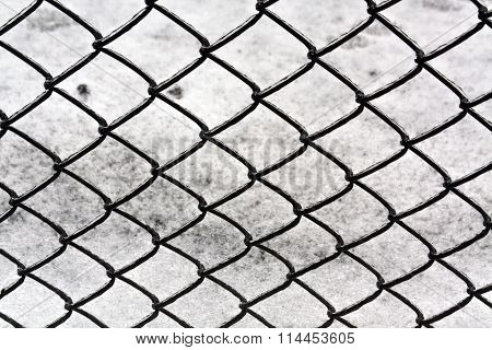 Wire Fence And Snow Texture.