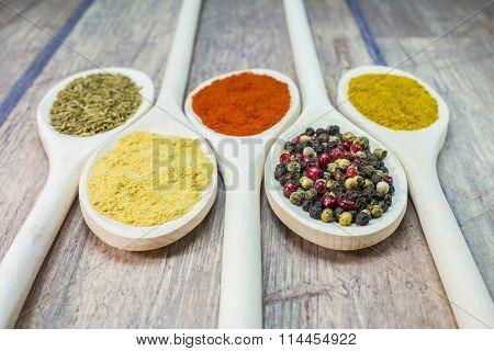 Spices On Wooden Spoon