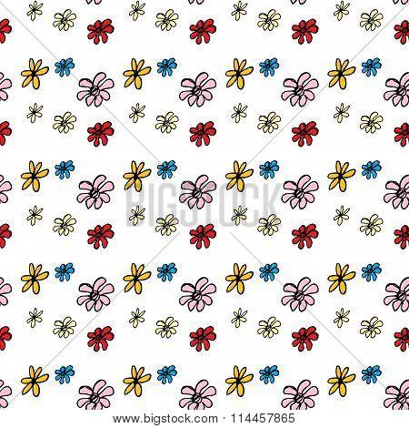 Seamless Pattern Flower . Hand Drawing.
