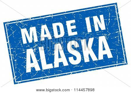 Alaska Blue Square Grunge Made In Stamp