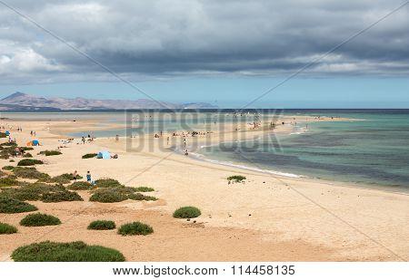 The famous lagoon in Risco El Paso at Playas de Sotavento Fuerteventura