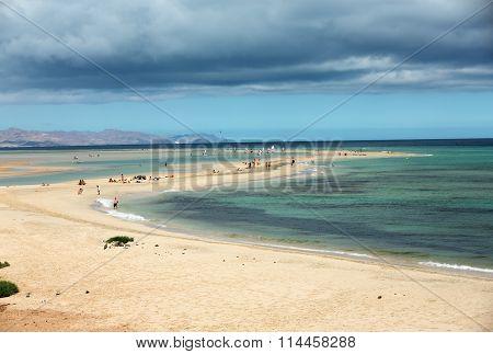 FUERTEVENTURA, SPAIN - SEPTEMBER 14, 2015: The famous lagoon in Risco El Paso at Playas de Sotavento Fuerteventura