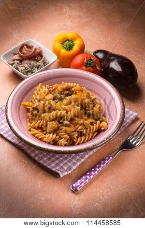 pasta with eggplant capers anchovies and capsicum