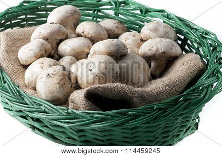Mushrooms In The Wicker Basket