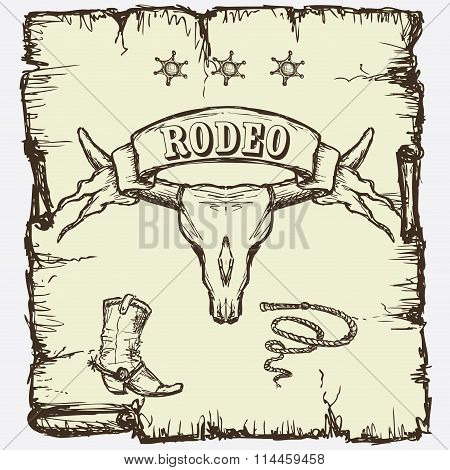 Retro style Rodeo  poster