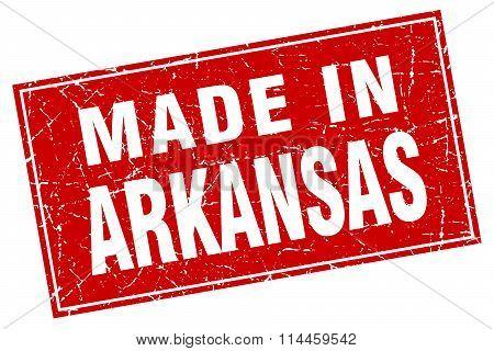 Arkansas Red Square Grunge Made In Stamp