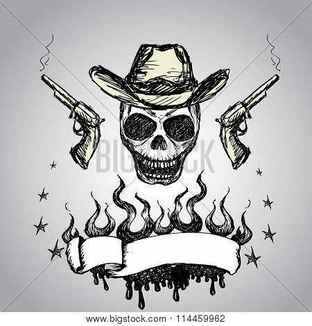 Cowboy Skull with revolvers and  ribbon for text