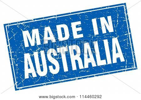 Australia Blue Square Grunge Made In Stamp